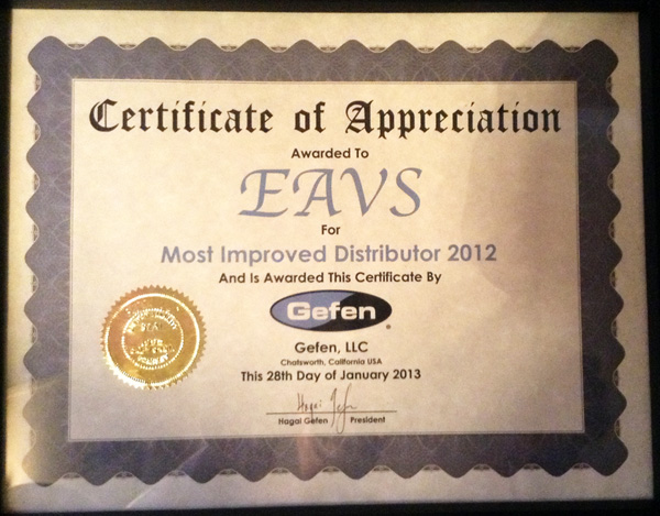 EAVS Most Improved Distributor 2012