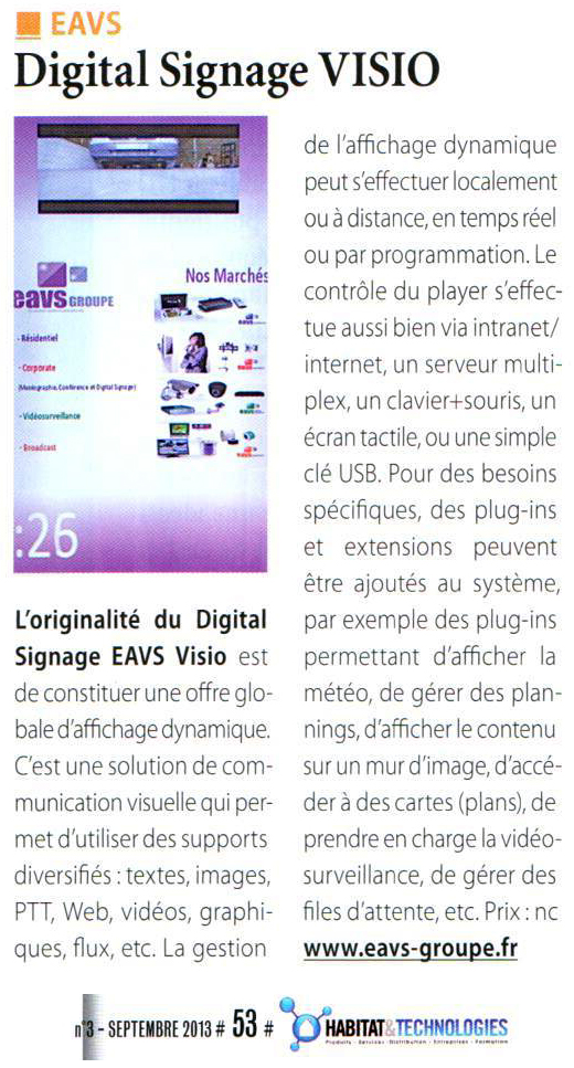 Digital Signage EAVS Visio Habitat&Technologies