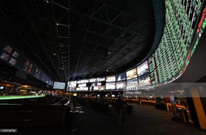 Some of the nearly 400 Super Bowl 50 proposition bets are displayed at the Race & Sports SuperBook at the Westgate Las Vegas Resort & Casino on February 2, 2016 in Las Vegas, Nevada. The newly renovated sports book has the world's largest indoor LED video wall with 4,488 square feet of HD video screens measuring 240 feet wide and 20 feet tall.