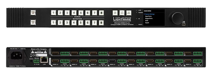 Lightware mx2-8x8-hdmi20-audio front back
