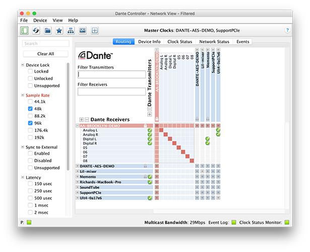 Dante Controller logiciel