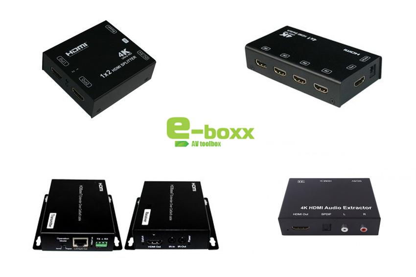 4 petits boîtiers très pratiques pour la HDMI 4K chez e-Boxx : distributeur, switcher, extendeur, extracteur