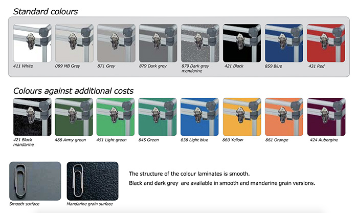 audipack flight-case couleurs