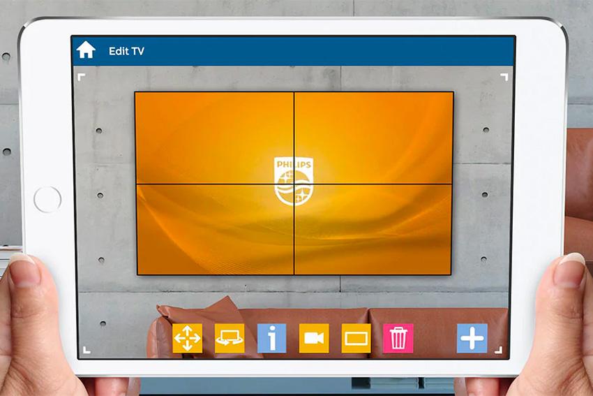 A quoi ressemblera votre mur d'images avec des moniteurs Philips ? Téléchargez l'app Augmented Reality configurator