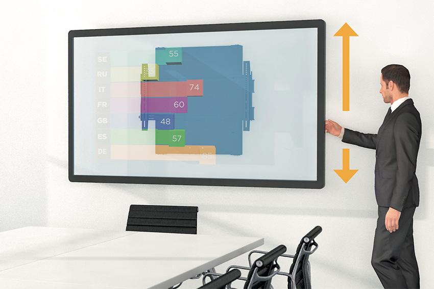 DisplayShift : un système de coulisse murale universelle pour moniteur chez Kindermann