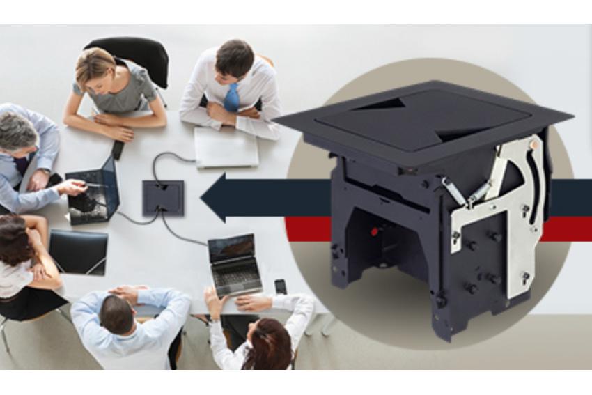 Avec le Lightware TBX-M210K, cachez tous les câbles dans un boîtier de table encastré