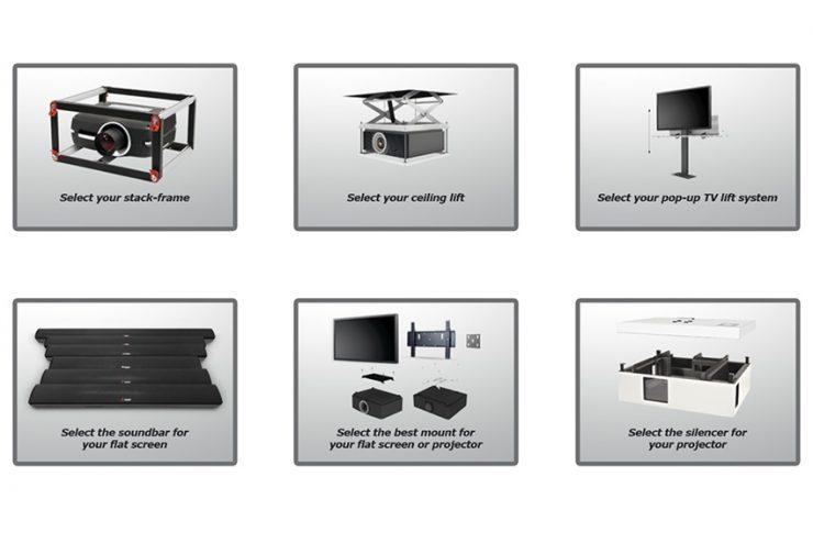 Utilisez le configurateur Audipack pour trouver votre support pour moniteur ou vidéoprojecteur