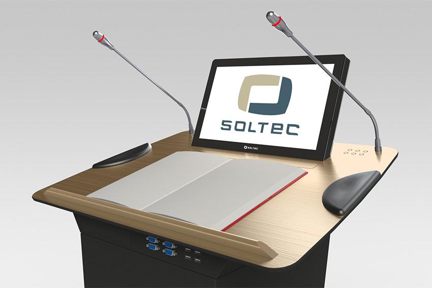 Soltec LTN : des pupitres multifonctions avec moniteur tactile motorisé aux finitions haut de gamme