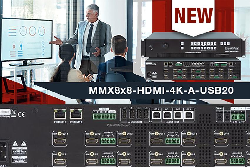 Une nouvelle matrice 8x8 HDMI, audio et USB dans la gamme Lightware MMX