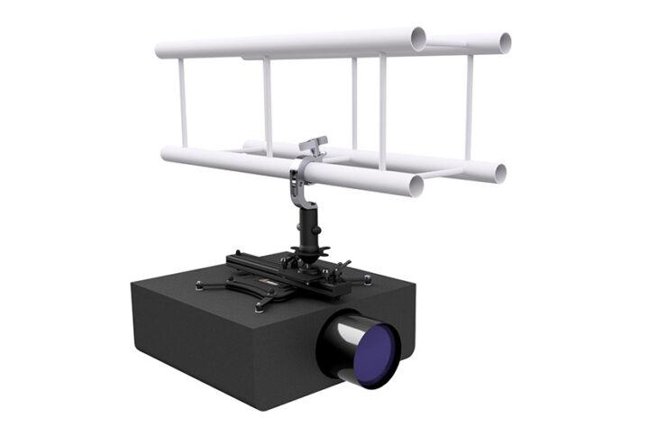 Avec le support Audipack PSB-50-200, les vidéoprojecteurs fixés en hauteur gardent l'équilibre