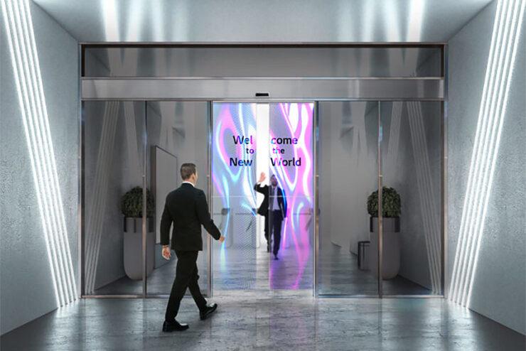 Pensez à l'affichage dynamique sur les portes vitrées automatiques avec LG Business Solutions