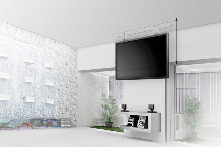 Audipack FCL : des supports de plafond motorisés et invisibles pour écrans jusqu'à 65
